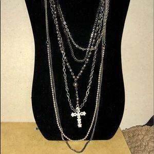 Candie's: Silver Cross, Gunmetal & Black Necklace